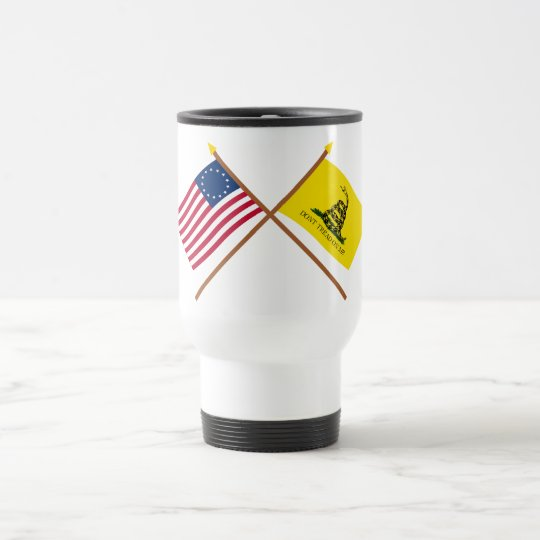 Crossed Betsy Ross and Gadsden Flags Travel Mug