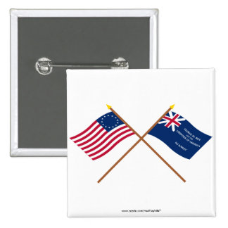 Crossed Betsy Ross and George Rex Flags 2 Inch Square Button