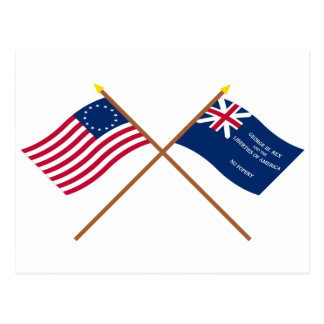 Crossed Betsy Ross and George Rex Flags Postcard