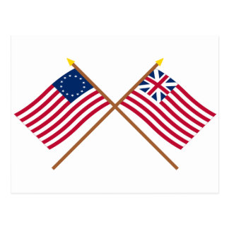 Crossed Betsy Ross and Grand Union Flags Postcard