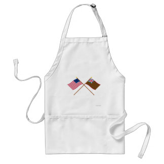 Crossed Betsy Ross and Grand Union Naval Flags Aprons