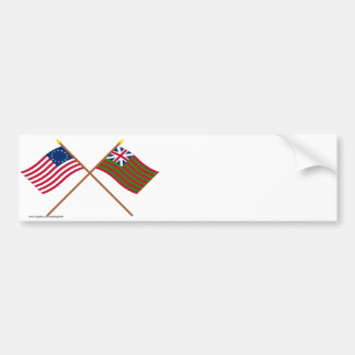 Crossed Betsy Ross and Grand Union Naval Flags Bumper Sticker