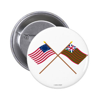Crossed Betsy Ross and Grand Union Naval Flags Pinback Button