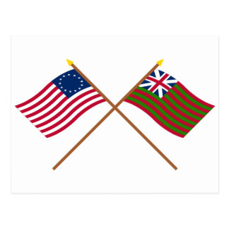 Crossed Betsy Ross and Grand Union Naval Flags Postcard