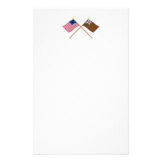 Crossed Betsy Ross and Grand Union Naval Flags Stationery