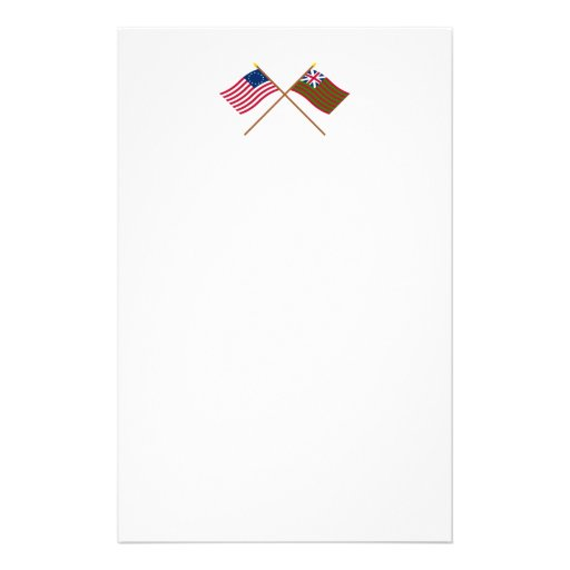 Crossed Betsy Ross and Grand Union Naval Flags Stationery Design
