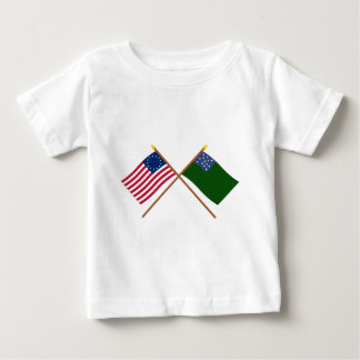 Crossed Betsy Ross and Green Mountain Boys Flags Baby T-Shirt