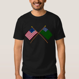Crossed Betsy Ross and Green Mountain Boys Flags Shirt