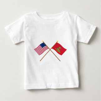 Crossed Betsy Ross and Hanover Associators Flags Baby T-Shirt