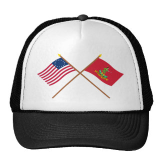 Crossed Betsy Ross and Hanover Associators Flags Trucker Hat
