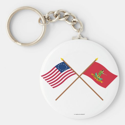 Crossed Betsy Ross and Hanover Associators Flags Keychain