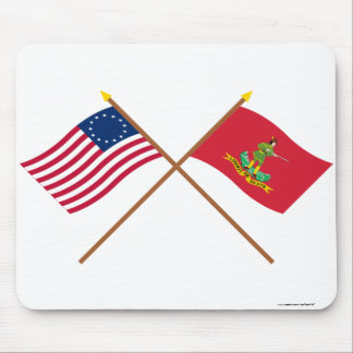Crossed Betsy Ross and Hanover Associators Flags Mousepads