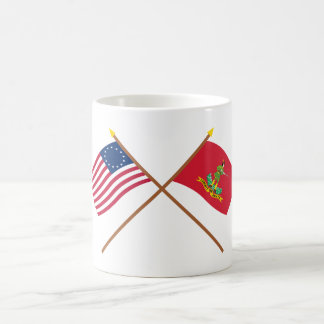 Crossed Betsy Ross and Hanover Associators Flags Mugs