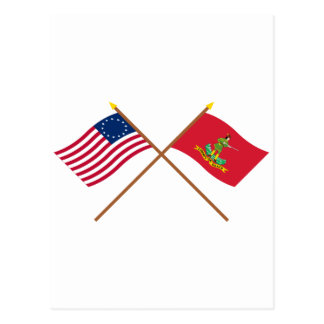 Crossed Betsy Ross and Hanover Associators Flags Postcard