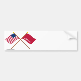 Crossed Betsy Ross and Huntington Flags Car Bumper Sticker