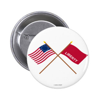 Crossed Betsy Ross and Huntington Flags 2 Inch Round Button