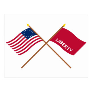Crossed Betsy Ross and Huntington Flags Postcard