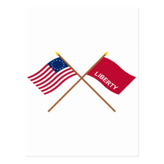 Crossed Betsy Ross and Huntington Flags Post Card