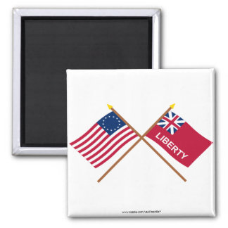 Crossed Betsy Ross and Liberty Flags 2 Inch Square Magnet
