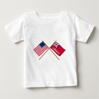 Crossed Betsy Ross and Liberty Flags Baby T-Shirt