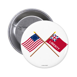 Crossed Betsy Ross and Liberty Flags 2 Inch Round Button