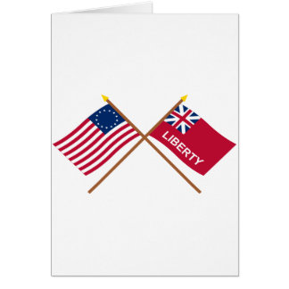 Crossed Betsy Ross and Liberty Flags Card
