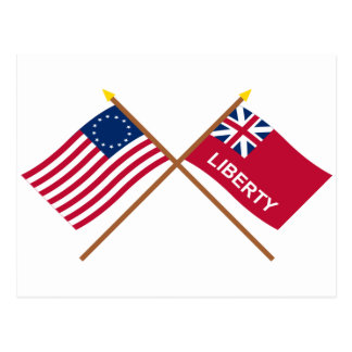 Crossed Betsy Ross and Liberty Flags Postcard