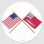 Crossed Betsy Ross and Liberty Flags Classic Round Sticker