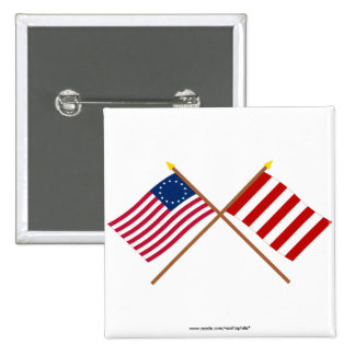 Crossed Betsy Ross and Liberty Tree Flags 2 Inch Square Button