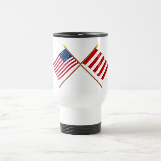 Crossed Betsy Ross and Liberty Tree Flags Coffee Mug