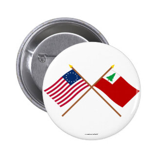 Crossed Betsy Ross and New England Flags 2 Inch Round Button