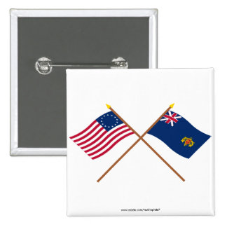 Crossed Betsy Ross and New Hampshire 2nd Regiment 2 Inch Square Button