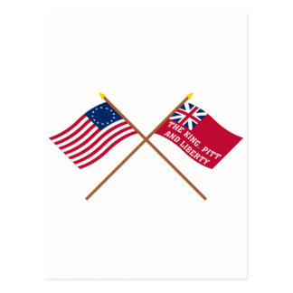 Crossed Betsy Ross and New York Liberty Flags Postcard