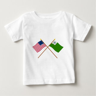 Crossed Betsy Ross and Newburyport Flags Baby T-Shirt