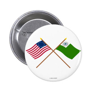 Crossed Betsy Ross and Newburyport Flags 2 Inch Round Button
