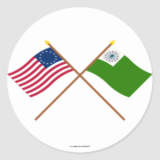 Crossed Betsy Ross and Newburyport Flags Round Stickers