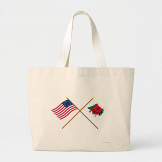 Crossed Betsy Ross and Newburyport Indep Marine Co Canvas Bags