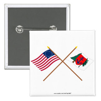 Crossed Betsy Ross and Newburyport Indep Marine Co 2 Inch Square Button