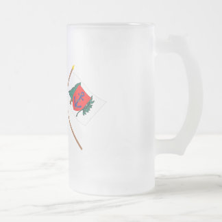 Crossed Betsy Ross and Newburyport Indep Marine Co Frosted Glass Beer Mug