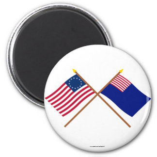 Crossed Betsy Ross and Pennsylvania Navy Flags Magnets