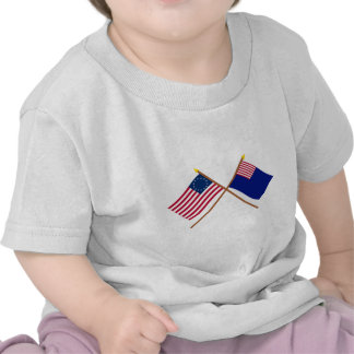 Crossed Betsy Ross and Pennsylvania Navy Flags Tshirt