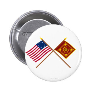 Crossed Betsy Ross and Pulaski Flags 2 Inch Round Button