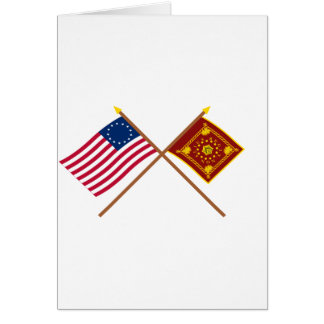 Crossed Betsy Ross and Pulaski Flags Card