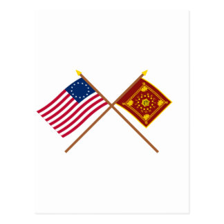 Crossed Betsy Ross and Pulaski Flags Postcard