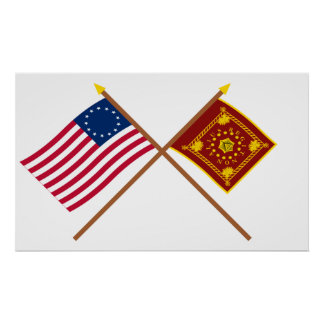 Crossed Betsy Ross and Pulaski Flags Poster