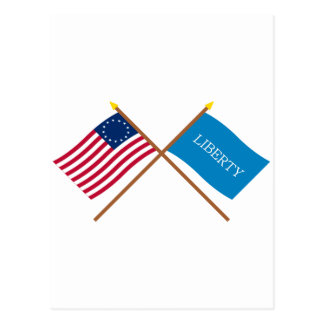 Crossed Betsy Ross and Schenectady Liberty Flags Postcard
