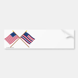 Crossed Betsy Ross and Serapis Flags Bumper Sticker