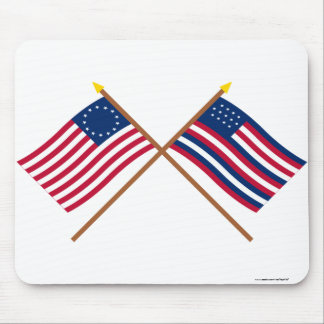 Crossed Betsy Ross and Serapis Flags Mousepad