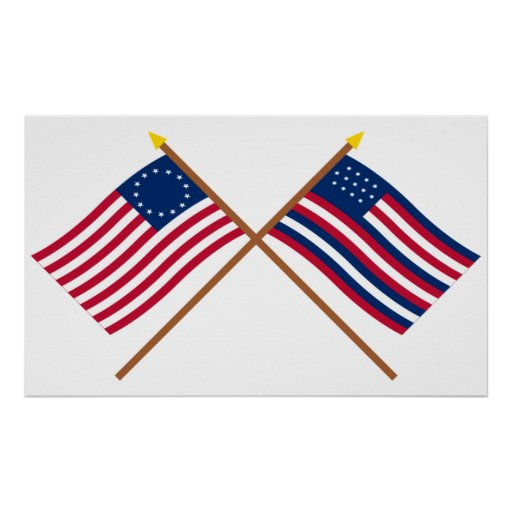 Crossed Betsy Ross and Serapis Flags Posters
