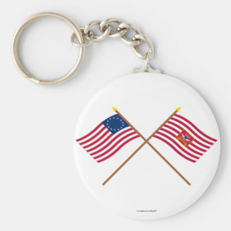 Crossed Betsy Ross and Sheldon's Horse Flags Keychain